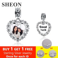 SHEON 100% 925 Sterling Silver Heart Crystal Bead Charm Fit Original Bracelet Personalized Custom Photo Charm Jewelry Making