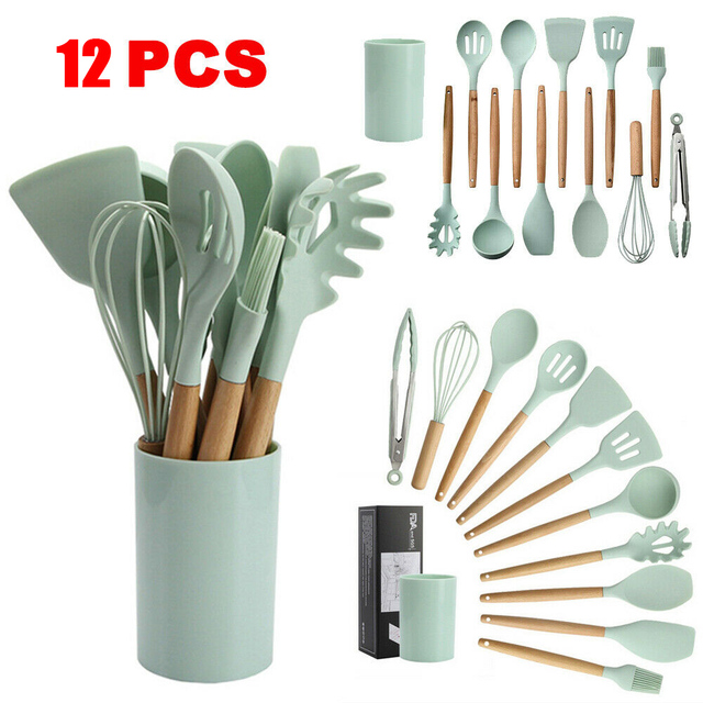 12pcs Silicone Cooking Utensils Set Wooden Handle Kitchen Tools Heat Resistant Non-Stick Cooking Tools Kitchenware Storage Box