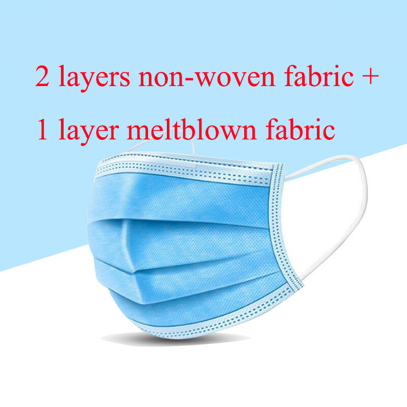 20/50 Pcs 2 Layers Non-Woven Fabric+1 Layer Meltblown Fabric Disposable Face Mask Dust Filter Safety Facial Dust-Proof Masks