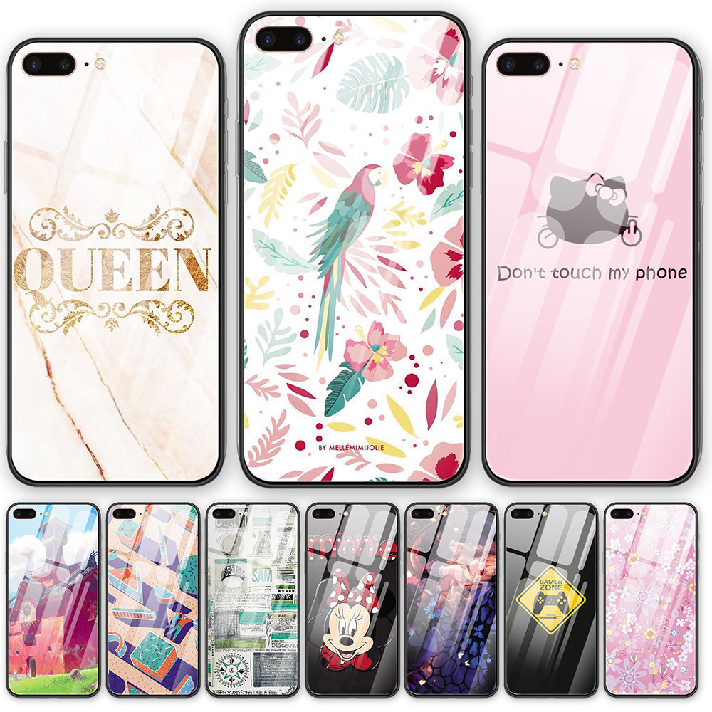 Cartoon Wallpaper Tempered Glass Back Cover Phone Case For Iphone 5 5s Se 6 6s 7 8 Plus X Xs Xr Xsmax 11 Pro Max