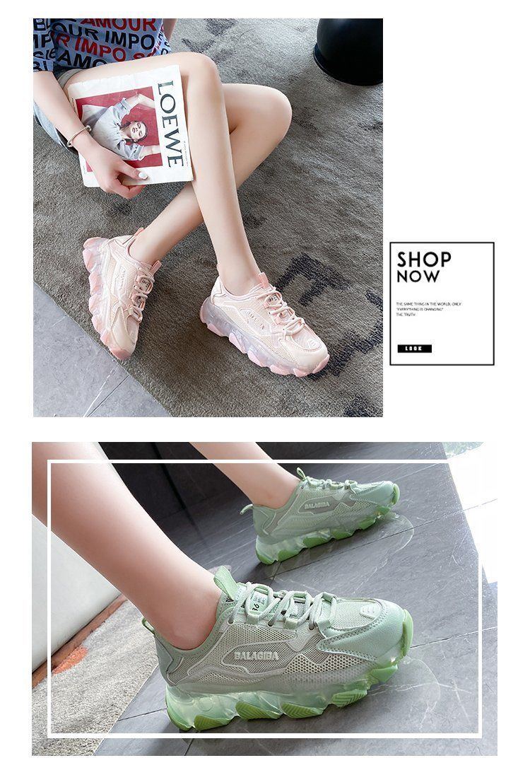 Women Chunky Platform Sneakers 2020 Fashion Lace Up Old Dad Shoes Woman 5cm High Heels Basket Female Casual Shoes Pink Trainers