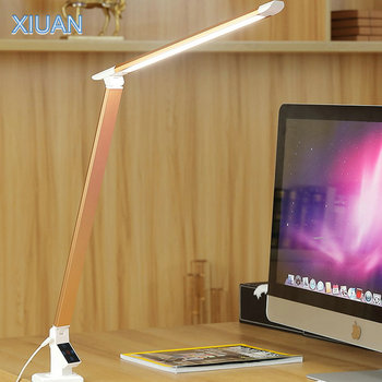 Modern LED Gold Desk Lamp with Clip Remote Control High Brightness Foldable Clamp Lights Library Reading Light for Desktop