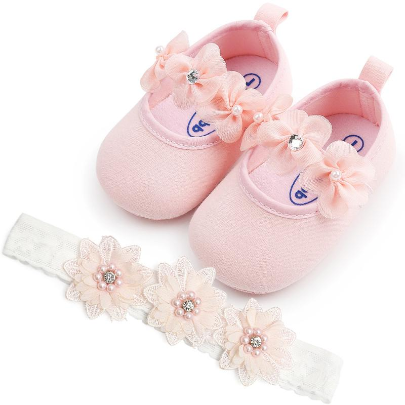 Baby Girl Shoes Lovely Soft Sole Princess First Walkers Flower Style Infant Christening Party Shoe For Newborn 0-18M