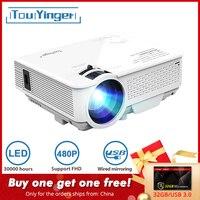 TouYinger светодиодный мини-проектор M4, 800x480 поддержка Full HD видео проектор для домашнего кинотеатра, 2200 люмен кинопроектор медиаплеер