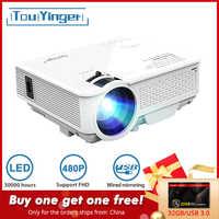 TouYinger FÜHRTE Mini projektor M4, 800x480 unterstützung Full HD video beamer für Heimkino, 2200lumen film projektor Media Player