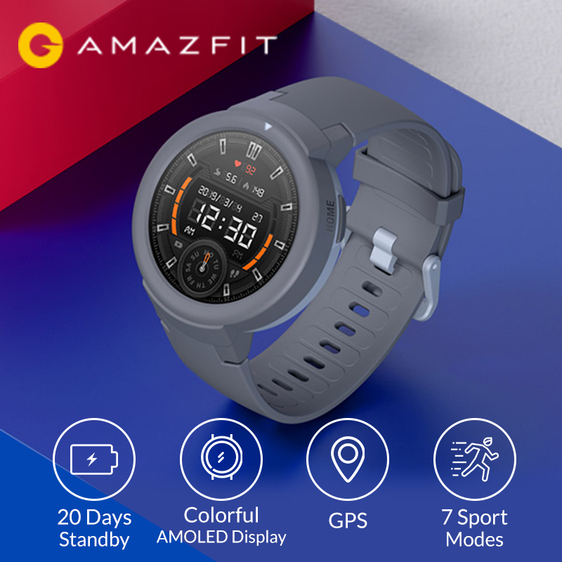 Original Amazfit Verge Lite Smartwatch 20Days Long Standby 390mAh 1 3inch AMOLED Screen Heart Rate Watch