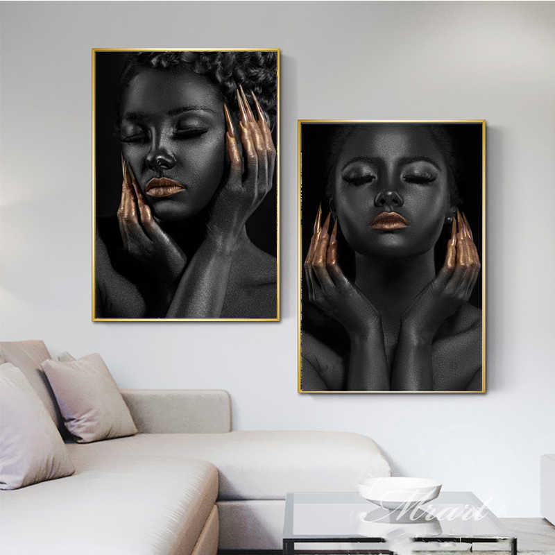 Canvas Painting Wall Art Black Girl Golden Nails Poster Fashion HD Printing Nordic Home Decorative Living Room Modular Pictures
