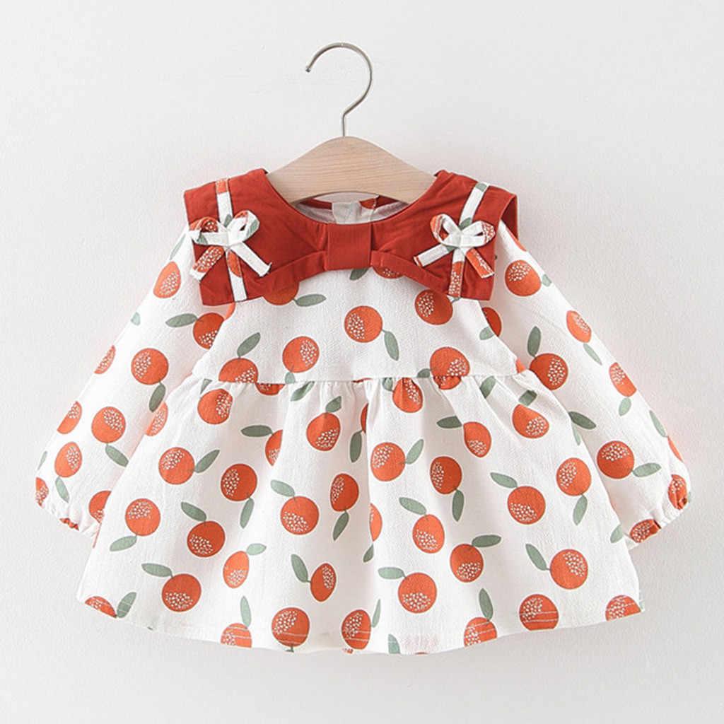 Детские платья для девочек с длинными рукавами и бантом оранжевого цвета с принтом Платья принцессы, одежда Детские платья для девочек повседневная одежда Shein 2019