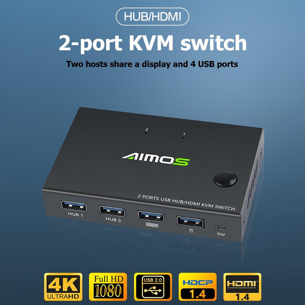 2 порта HDMI USB KVM 4K переключатель сплиттер для совместного использования монитора клавиатуры мыши