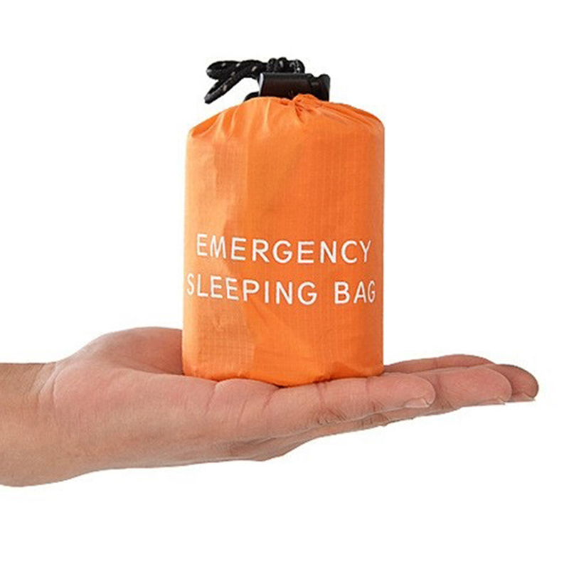1 Pcs Outdoor Emergency Sleeping Bag Thermal Survival Camping Travel Bags Reusable Emergency Sleeping Bag with Whistle