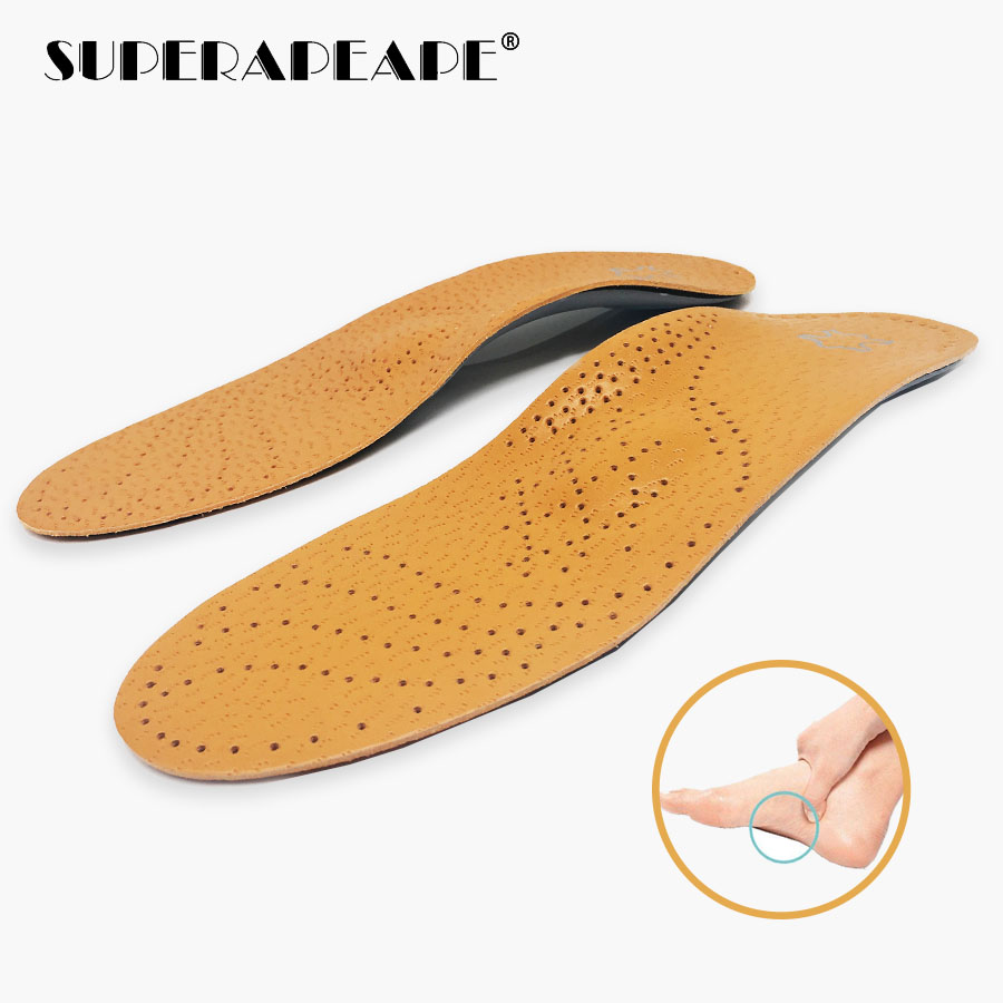 Orthopedic Insoles Flat Feet Arch Support Shoe Pads Leather Orthotic Insoles Shock-Absorption Feet Cushion For Men Woman Shoes