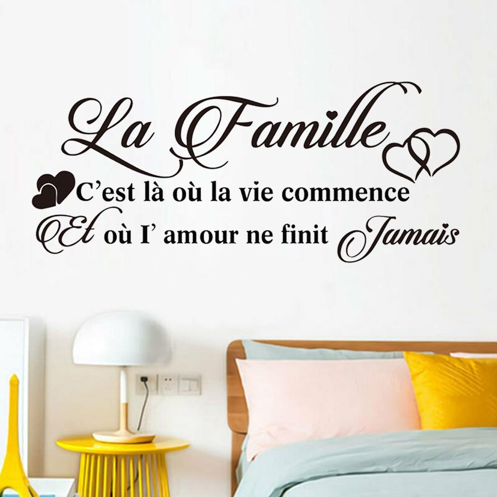 Francês adesivos de parede la famille citações sala estar arte decoração do quarto romântico família vinil decalques decoração para casa y754