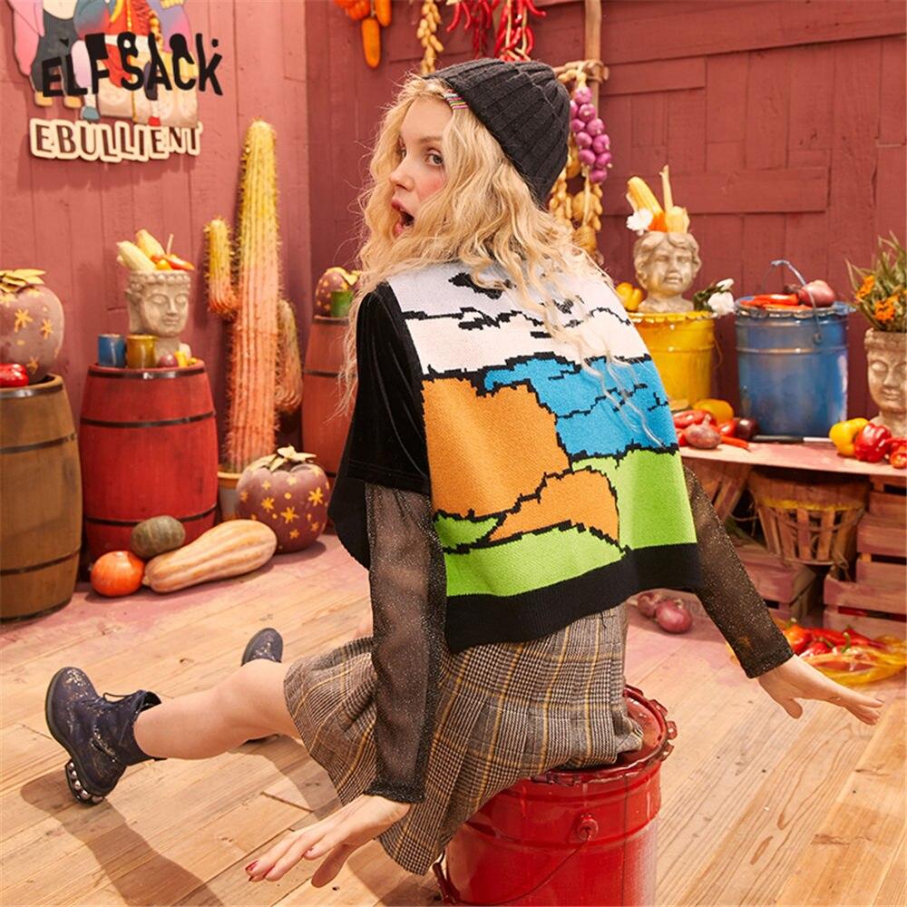 ELFSACK Black Graphic Print Vintage Causal Knit Pullover Women Sweater 2020 Spring Long Sleeveless Korean Style Ladies Daily Top