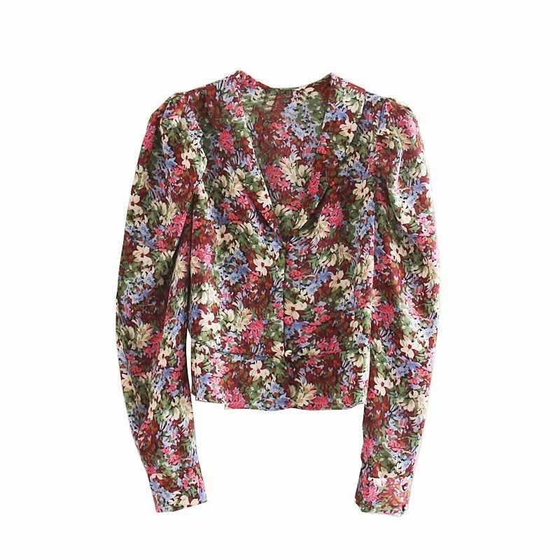 New Women Vintage Puff Sleeve Flower Printing Casual Shirts Blouses Elegant Ladies V Neck Roupas Femininas Chemise Tops LS4506