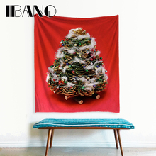 IBANO Merry Christmas Tree Tapestry Polyester Wall Hanging Tapestry Wedding Decoration Tablecloth Christmas Decorations For Home christmas tree gift wall decor tapestry