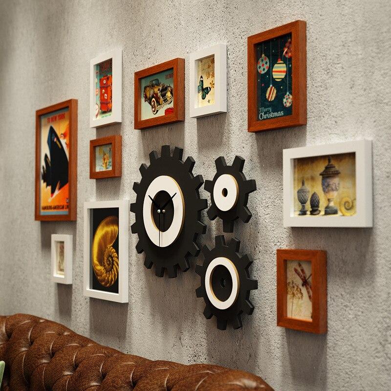 Американская фоторамка креативная фоторамка сочетание часов промышленная ветровая подвесная стена для гостиной фото Настенная роспись ук... - 4