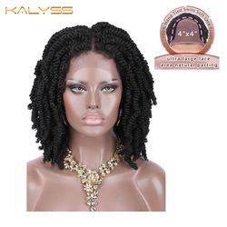 Kalyss 12 inches 4x4 Braided Wigs for Black Women Spring Twist Braids Wig Synthetic Lace Frontal Wigs with Baby Hairs Woman Wigs