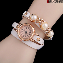 цена на 2020Hot Selling Fashion Bracelet Watches Women PU Winding Litchi Pattern Leather Quartz Watch Relogio Feminino Reloj Mujer Clock