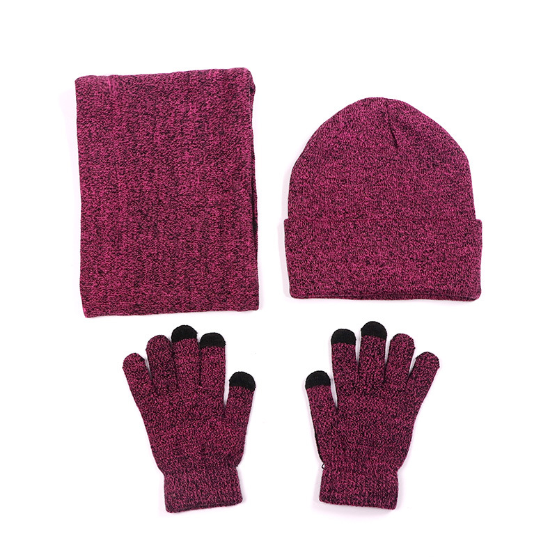 Fleece Lined Warm Winter Knitted Men Women Hat Gloves Set Ring Scarf Grey Wine Red