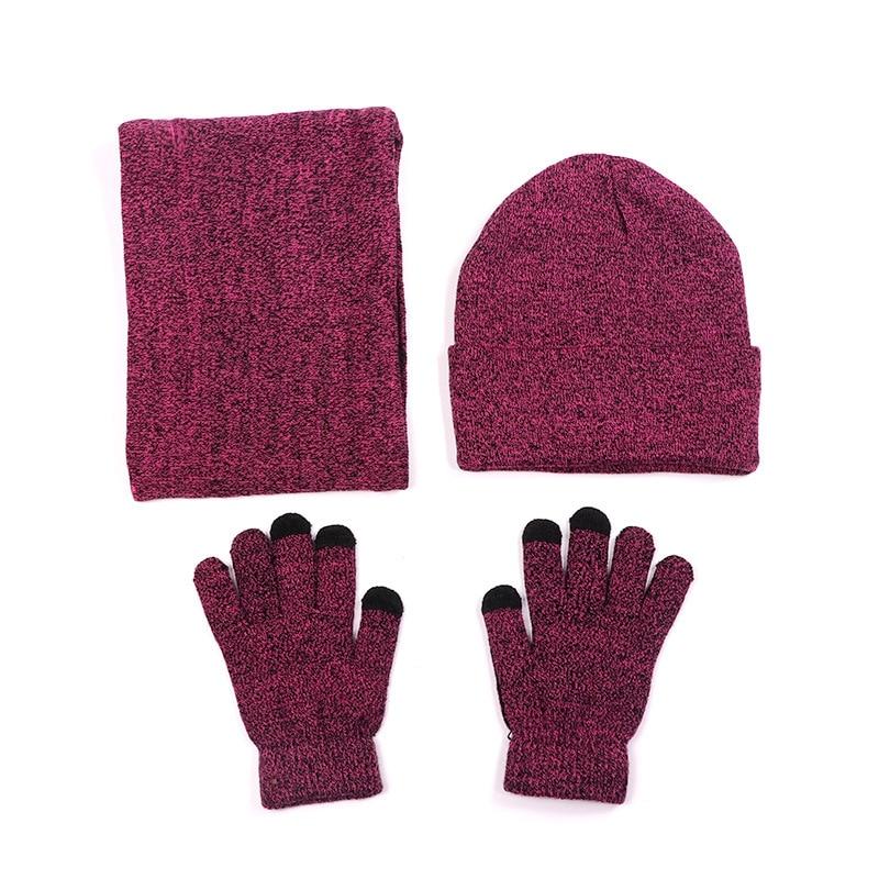Fleece Lined Warm Winter Knitted Men Women Hat Gloves Set Ring Scarf Grey Wine Red