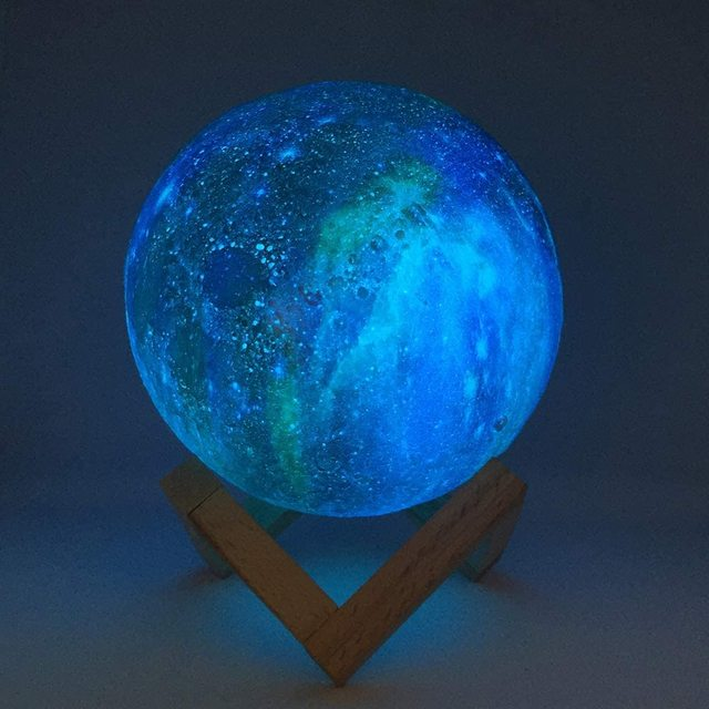 ZK20 3D Printing Moon Lamp Galaxy Moon Light Kids Night Light 16 Color Change Touch and Remote Control Galaxy Light as  Gifts 4