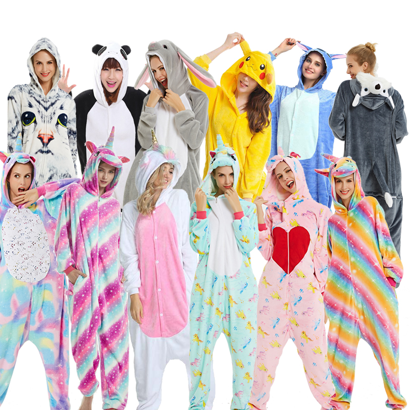 Adults Kigurumi Women Men Unicornio Flannel Hooded Animal Pajamas Sets Cartoon Sleepwear Unicorn Pajamas Stitch