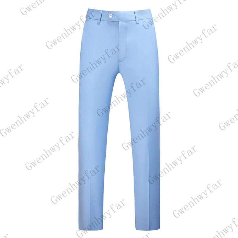 Gwenhwayfar, мужские синие клетчатые брюки, деловой костюм, брюки, деловые повседневные облегающие брюки, Классический Клетчатый костюм, брюки для свадьбы - Цвет: sky blue