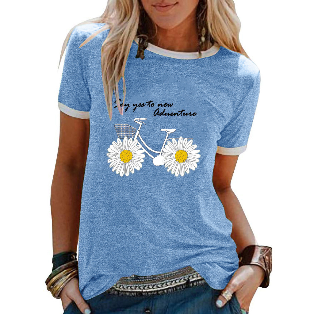 Fashion Daisy Print Letter Blouse Daily O-Neck Tee Tunic Tops Casual Summer Ladies Top Female Women Short Sleeve Blusas Pullover