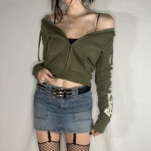 Green Printed Y2K Crop Hoodies Streetwear 90s Fashion Korean Fairycore Egirl Hooded Jacket Vintage Harajuku Autumn Winter Sweats