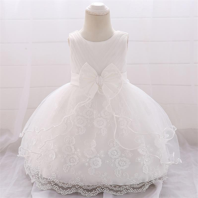 White Baptism Dress Princess Wedding Formal Party Long Sleeve Dress For Toddler Baby Girl Size 24M