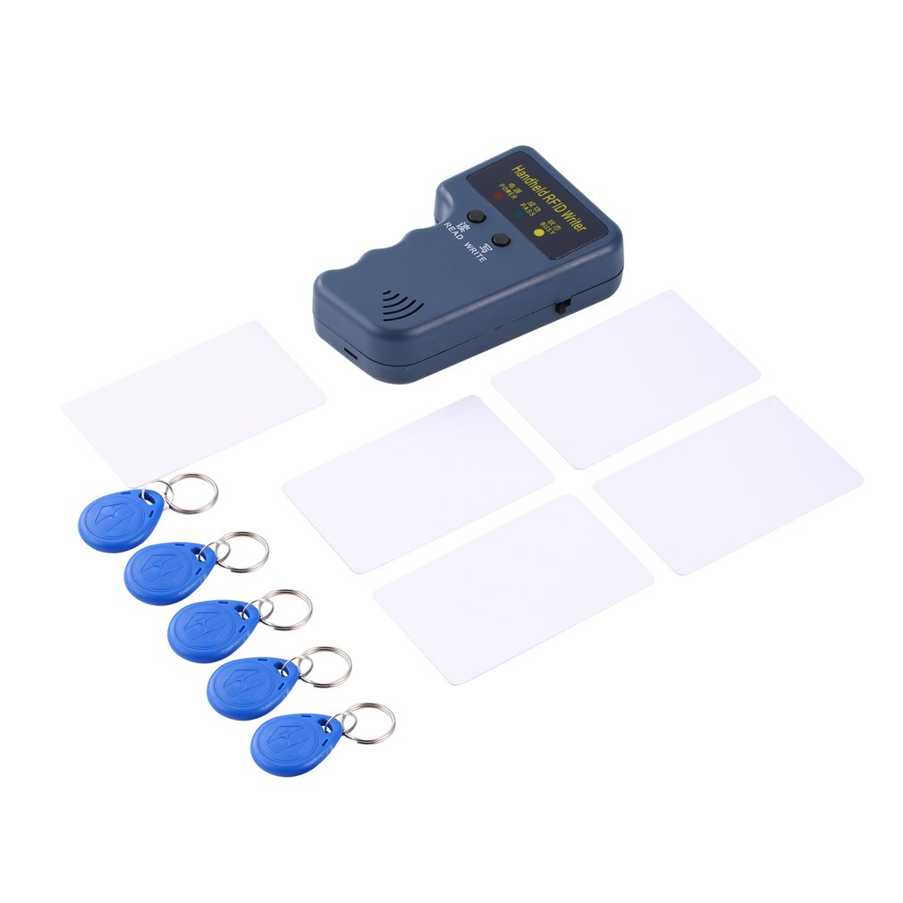 125KHz EM4100 RFID Copier Writer Duplicator Programmer Reader + 5pcs Rewritable ID Keyfobs Tags Card Handheld