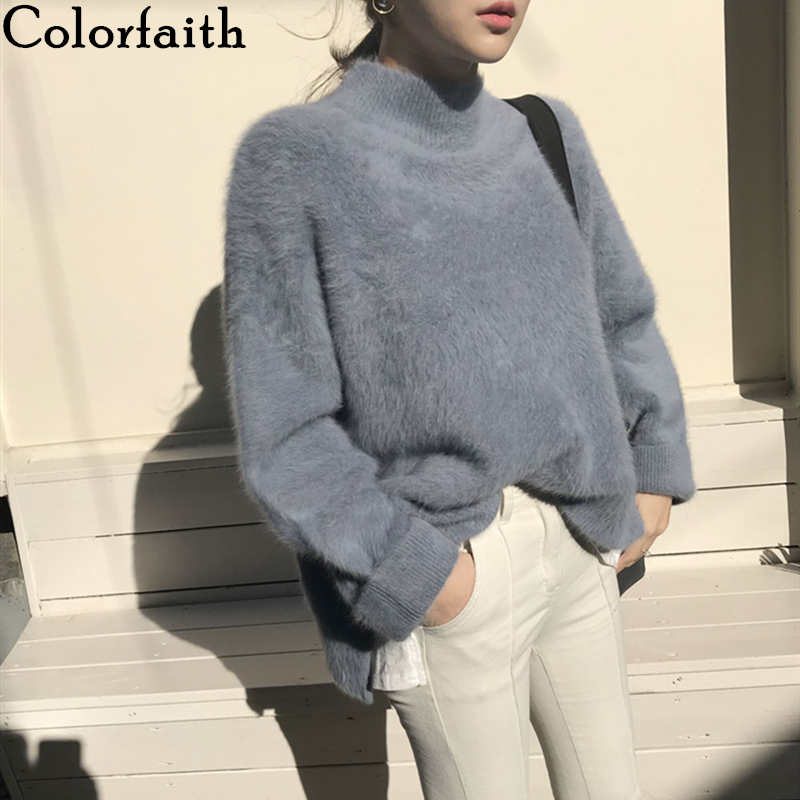Colorfaith Women's Sweaters Weed Autumn Winter 2019 Turtleneck Korean Fashionable Warm Casual Minimalis Female  Pullovers SW3091