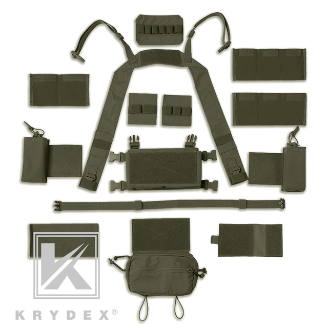 KRYDEX MK3 Modular Tactical Chest Rig Chassis Spiritus Airsoft Hunting Military Tactical Carrier Vest w/ 5.56 223 Magazine Pouch 5