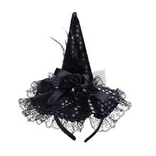 Cap Headband Witch-Hat Feather-Party Halloween Children Party-Supplies Kids for Costume