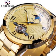 Forsining Golden Men Mechanical Wristwatch 3D Dial Automatic Tourbillon Moonphase Full Steel Big Watches Clock Relogio Masculino