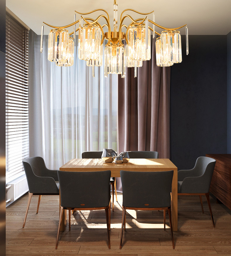 Postmodern Luxury Crystal Chandelier American Simple Copper Hanging Lamps Living Room Dining Room Bedroom Decor Light Fixtures
