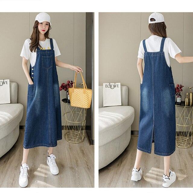 2021 New Korean Fashion Long Denim Sundress Vintage Jeans Dress Women Suspenders Dresses Female Overalls Robe Femme 2