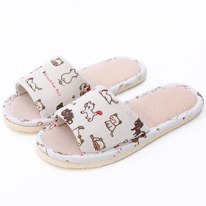 Hotel Slippers Shoes Flip-Flop Guest Floral-Printed Cotton Cartoon Home Linen Indoor