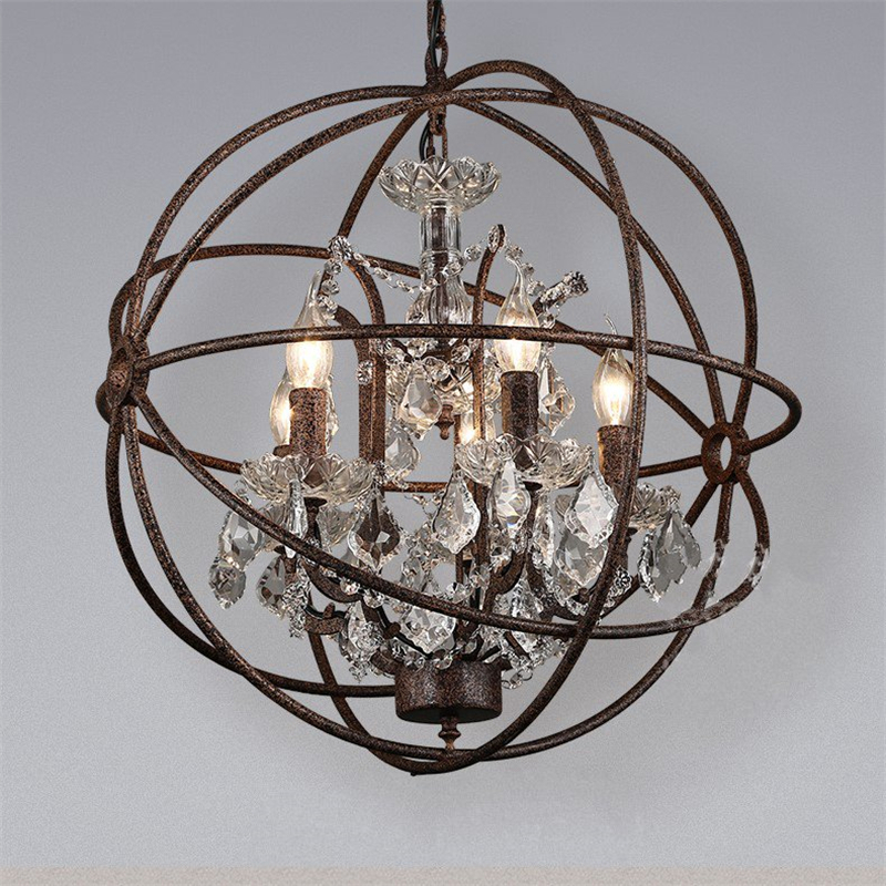 Industrial Glass Chandelier American vest iron ball living room bedroom glass lamp creative personality lamp chandelier|Pendant Lights| |  - title=