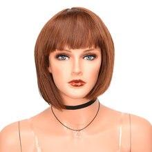 Peluca Bob sintética marrón claro para mujer, Cosplay diario, postizo de pelo falso con flequillo limpio, peluca de fiesta