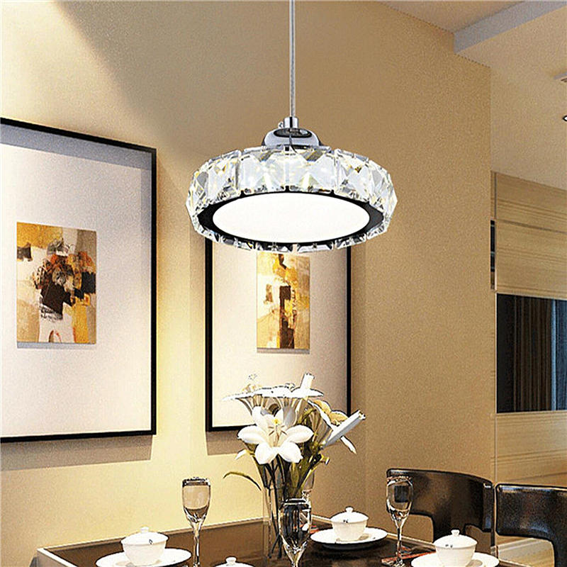 LED restaurant light crystal chandelier modern minimalist round bar table chandelier lighting