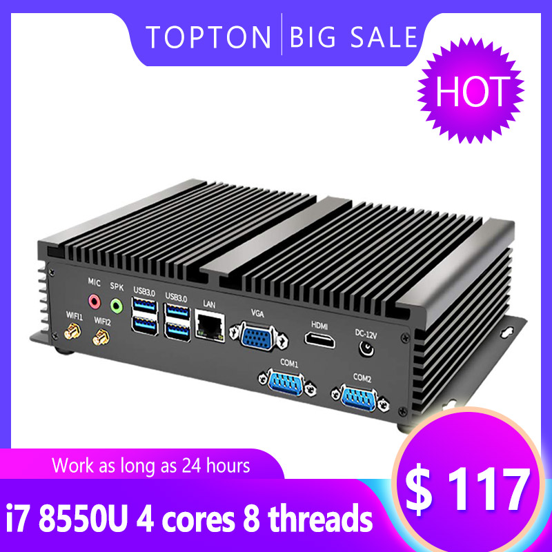 High-end Full Alloy Industrial Mini PC Intel Core I7 8565U I5 8250U I3 4010U DDR3 DDR4 Fanless Computer Windows10 Linux HDMI VGA