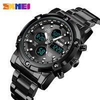 스테인레스 스틸 남자 디지털 시계 럭셔리 브랜드 SKMEI 남자 시계 3 시간 빛나는 전자 손목 시계 방수 알람 시계