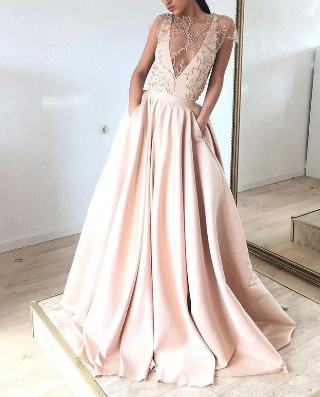 A-Line Prom Dresses with Pockets 2020 Suknie Wieczorowe Satin Appliques Beaded Formal Gowns Long Robe De Soiree вечерние пла