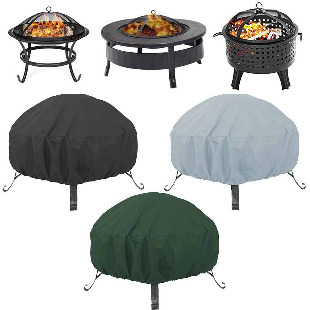 Waterproof Patio Fire Pit Cover UV Protector Grill BBQ Shelter Dust Cover Outdoor Garden Yard Round Canopy Furniture Covers