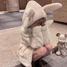 Rabbit Ears Plush Faux Cashmere Coat Plus Velvet Padded Women