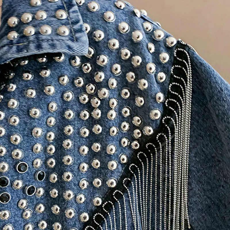 秋デニムジャケットコート女性リベットタッセルチェーンショートコート女性ルースストリート長袖黒コートabrigoデmujer