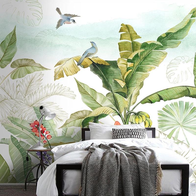 Тропическое растение, банан, лист, цветок, птица, настенная фотобумага, фотообои для гостиной, спальни, вход, фон для украшения стен, живопись