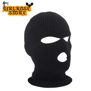 Горячая Распродажа, маска для полного покрытия лица, 3 отверстия, Балаклава, вязаная шапка, зимняя тянущаяся маска для снега, шапка бини, шапк...