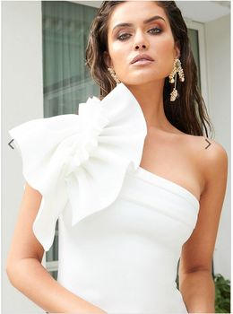 White Dresses One Shoulder Ruffles 2